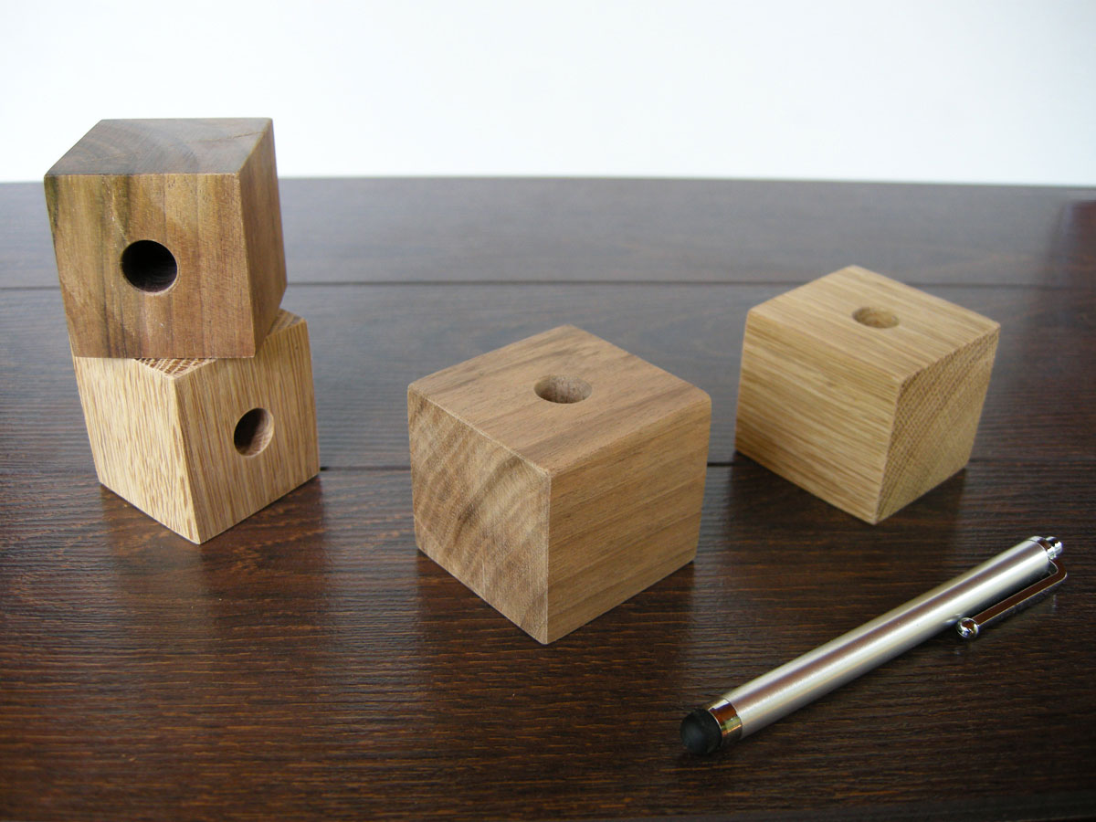 Pen Holder. Wood Desk Organizer. Cube Pen Holder.