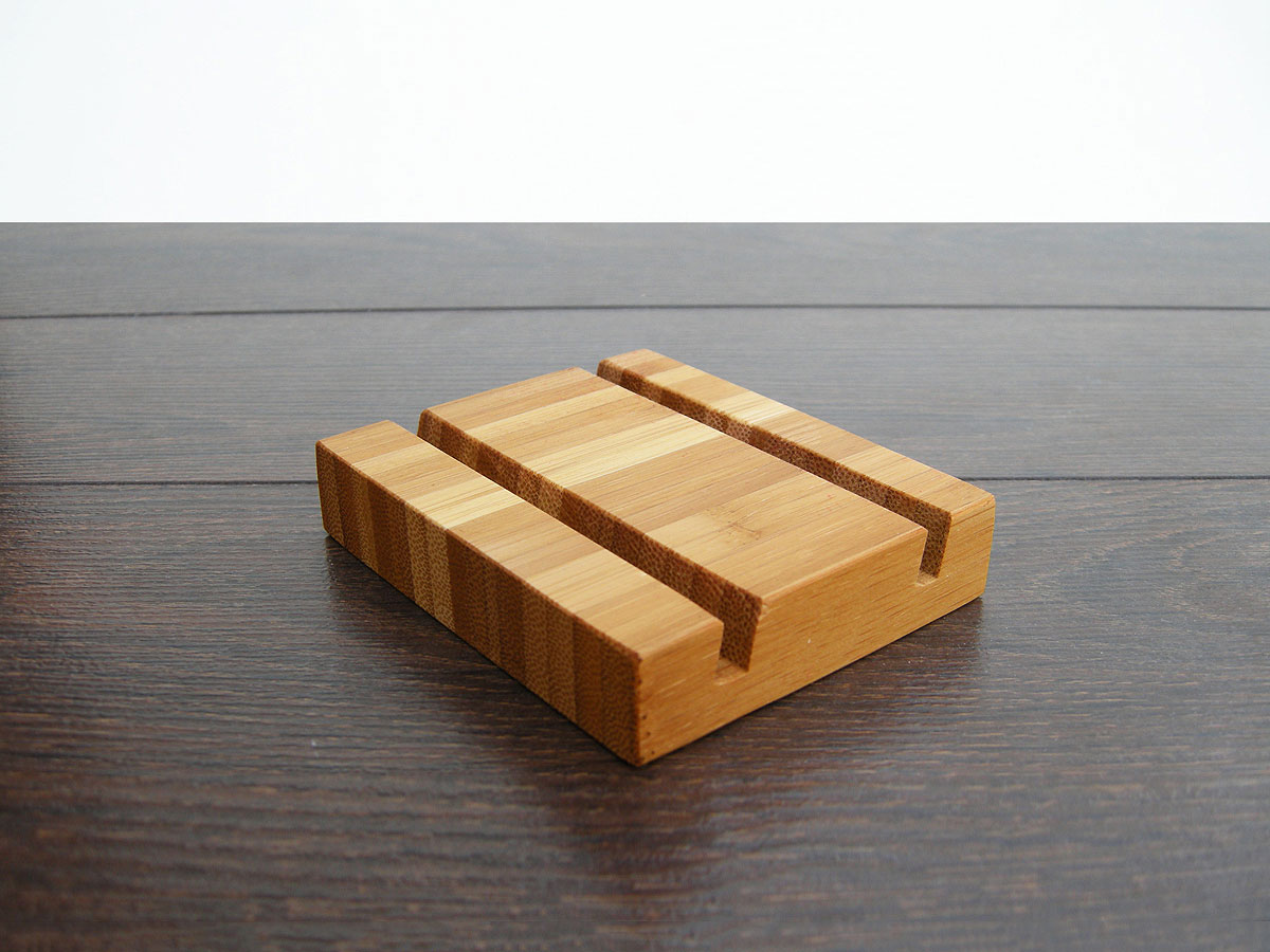 Wood Business Card Holder Double Bamboo 03