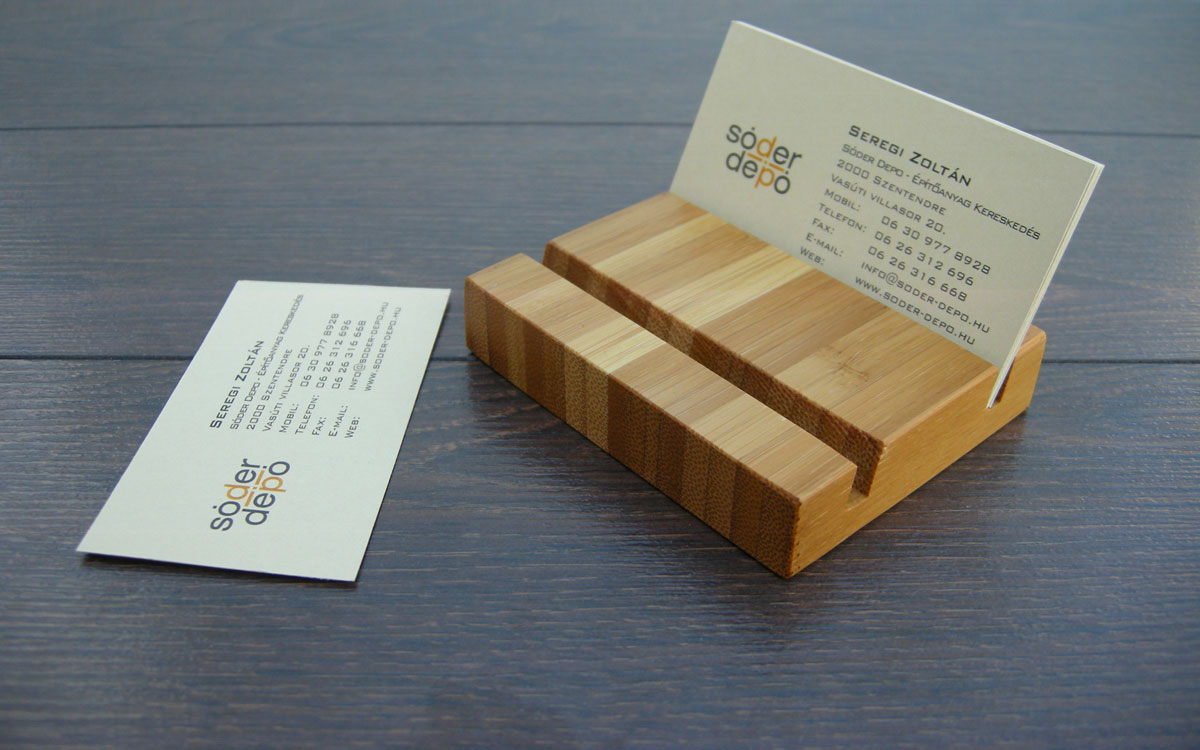 Wood Business Card Holder Double Bamboo 04