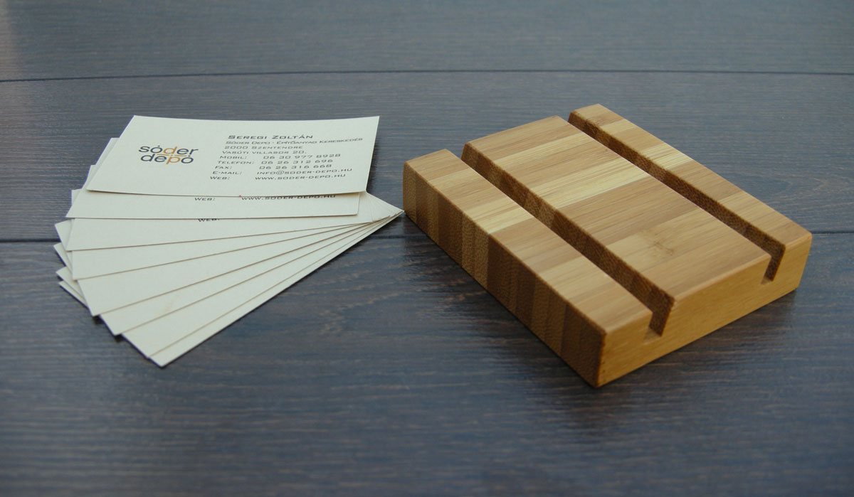 Wood Business Card Holder Double Bamboo 05