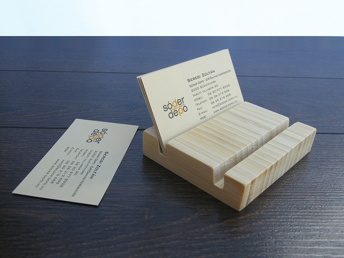 Wood Business Card Holder Double Bamboo 23