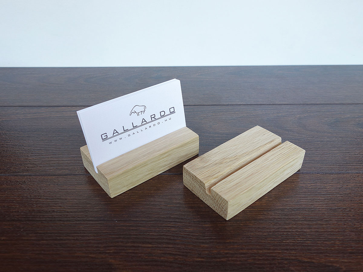 Wood Business Card Holder Oak 01