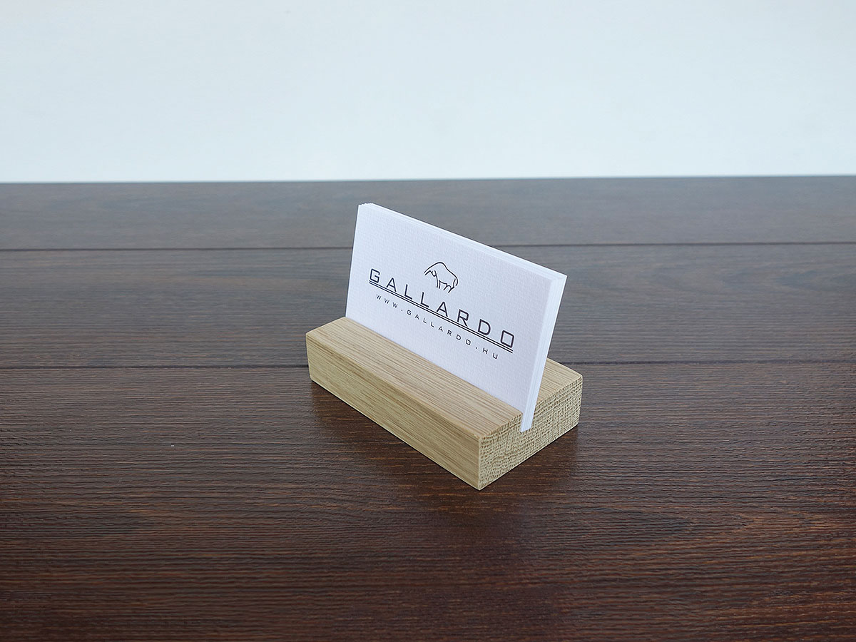 Wood Business Card Holder Oak 03