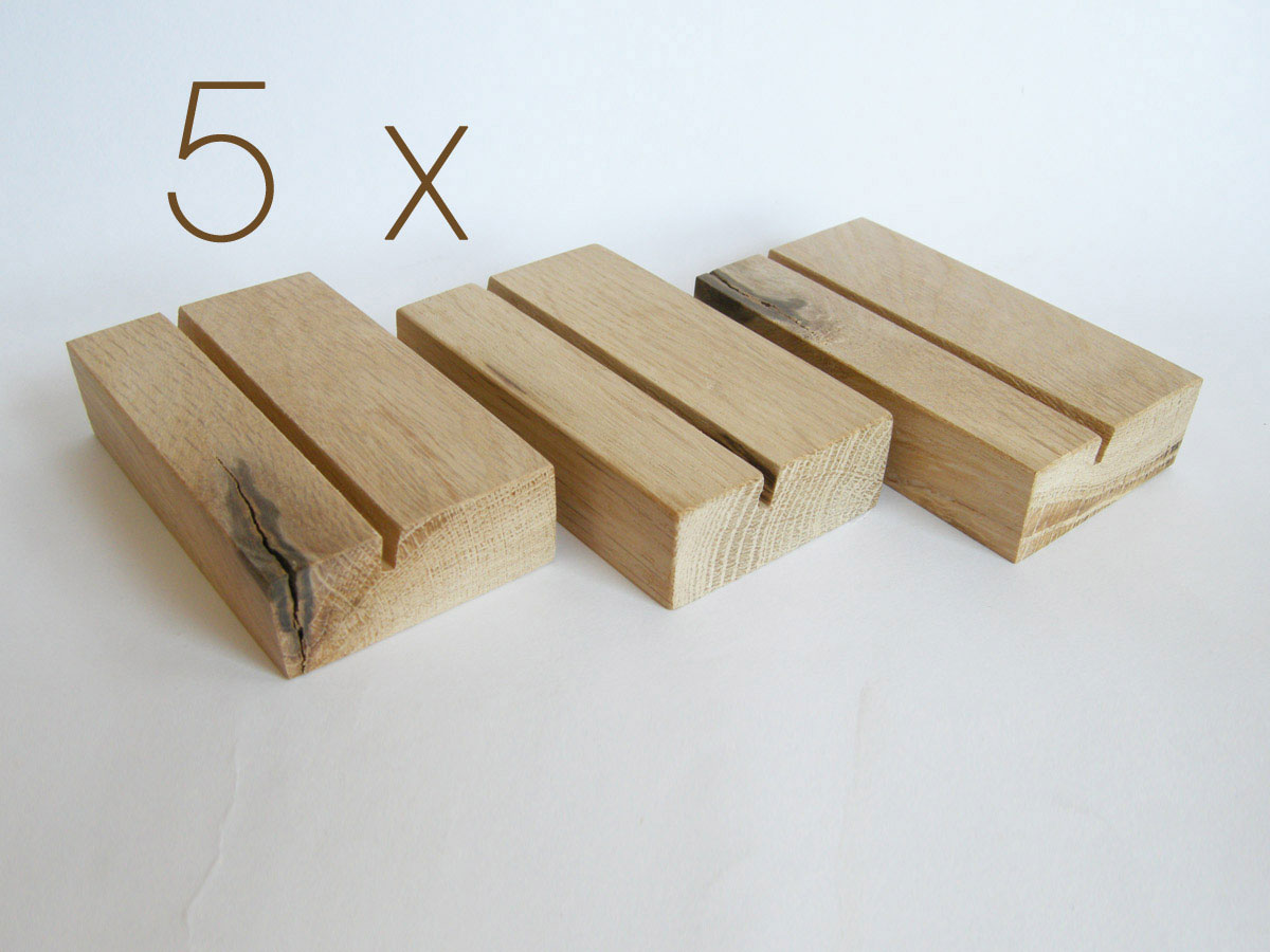 5 X Business Card Holder. Wood Business Card Holder. Oak Wood.