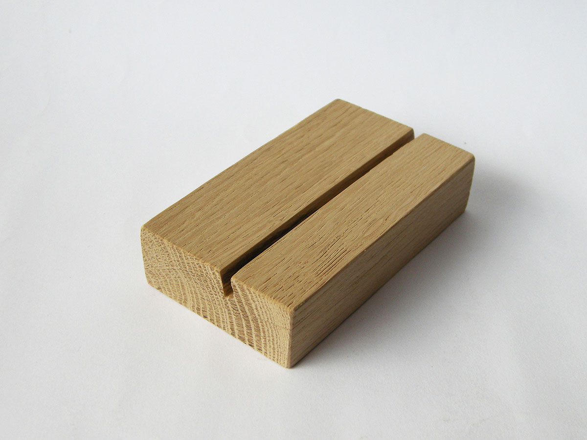 Wood Business Card Holder Oak 08
