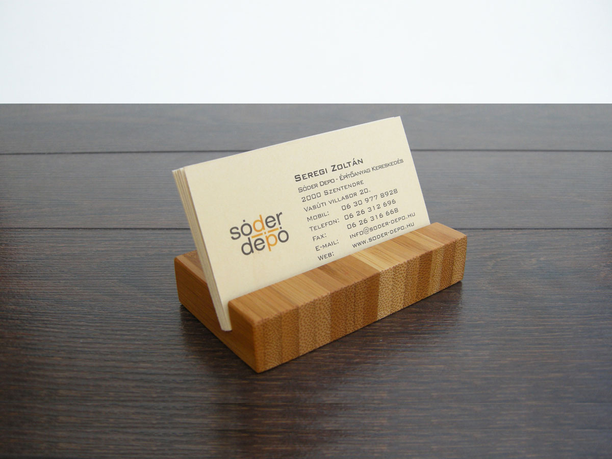Wood Business Card Holder From Choco Bamboo