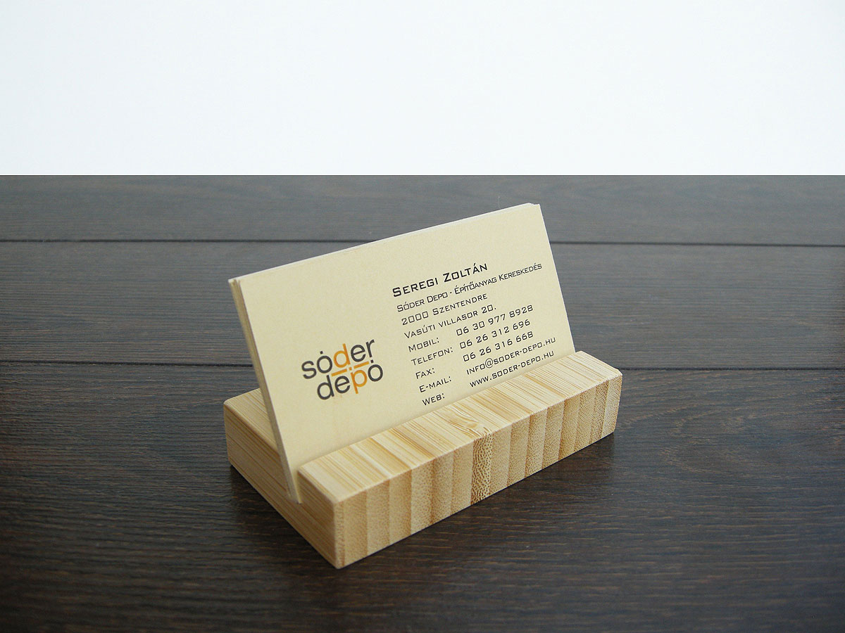 Wood Business Card Holder From Natural Bamboo