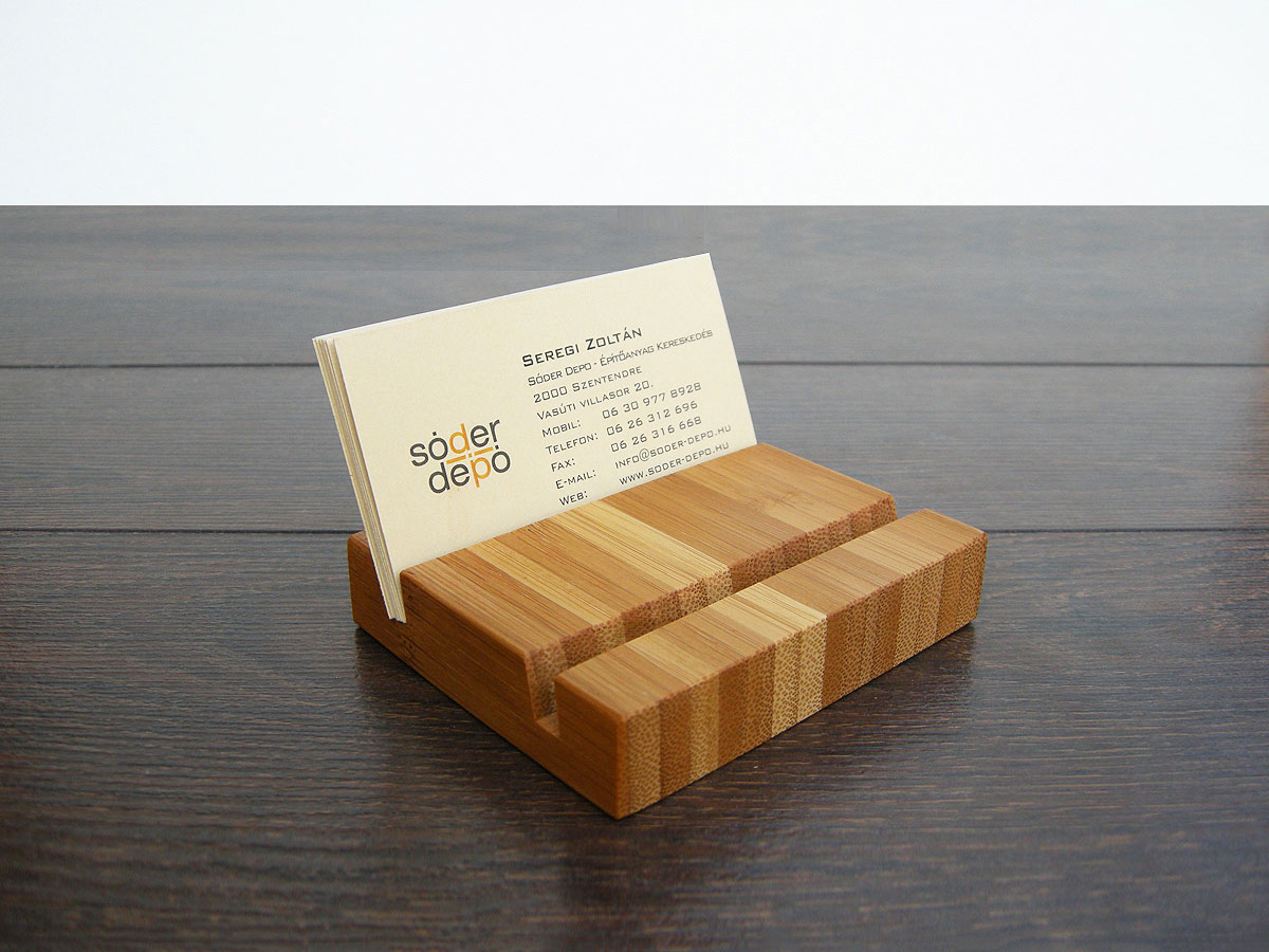 Wood Business Card Holder Double Bamboo 01