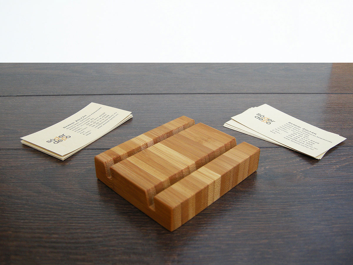 Wood Business Card Holder Double Bamboo 02