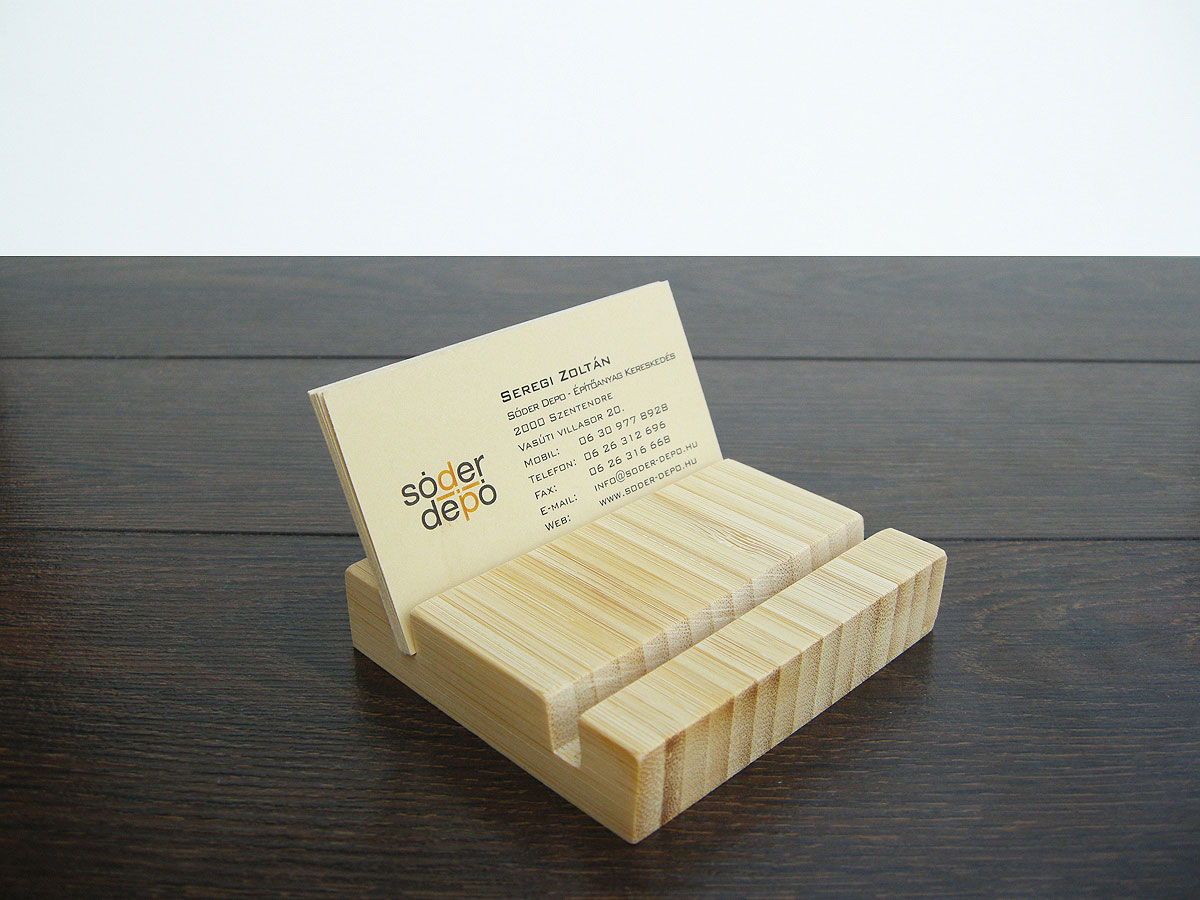Double Wood Business Card Holder From Natural Bamboo