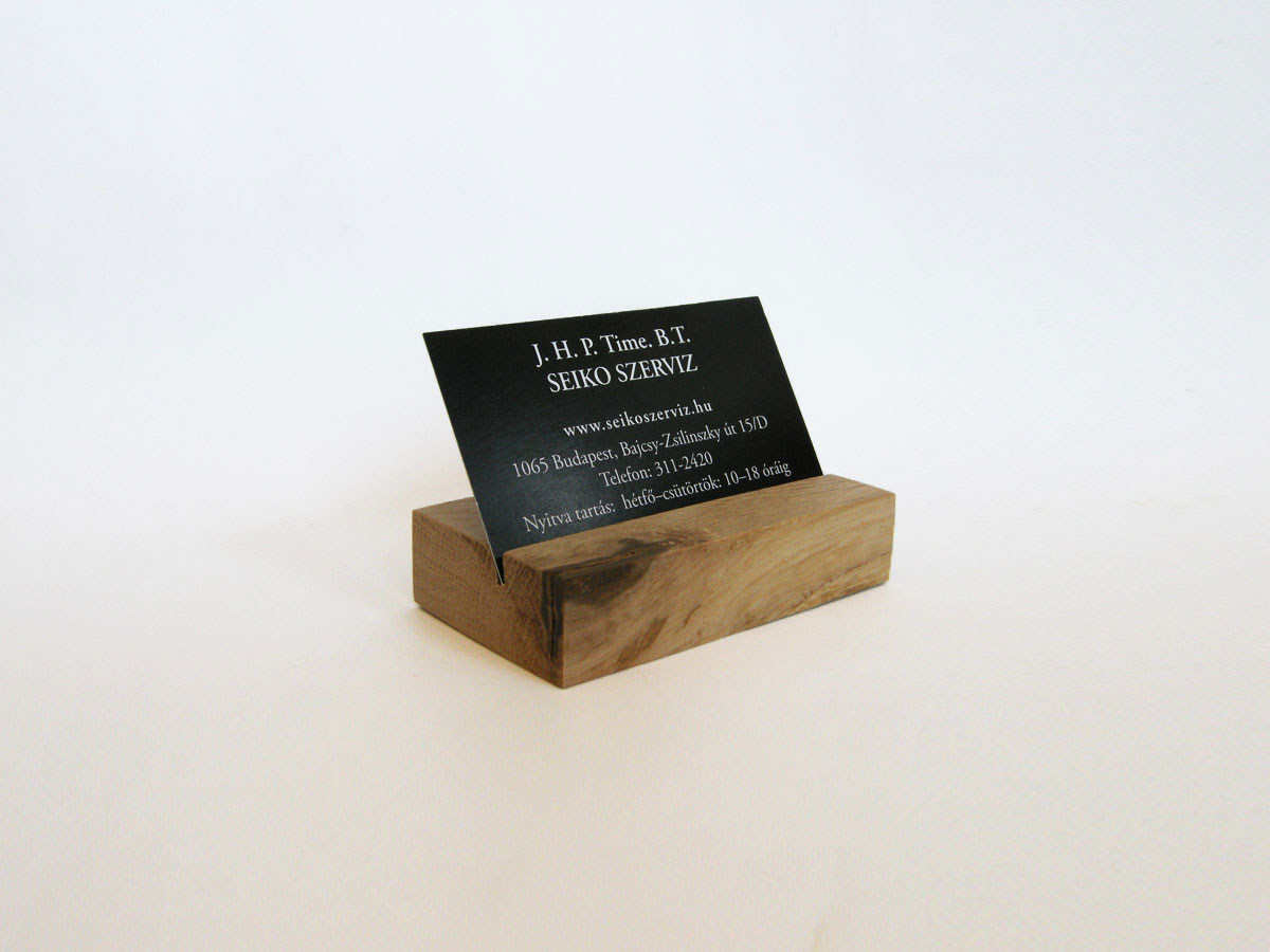 Wood Business Card Holder Oak 02