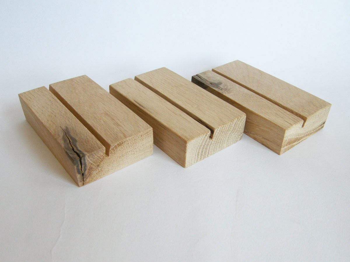 Wood Business Card Holder Oak 04