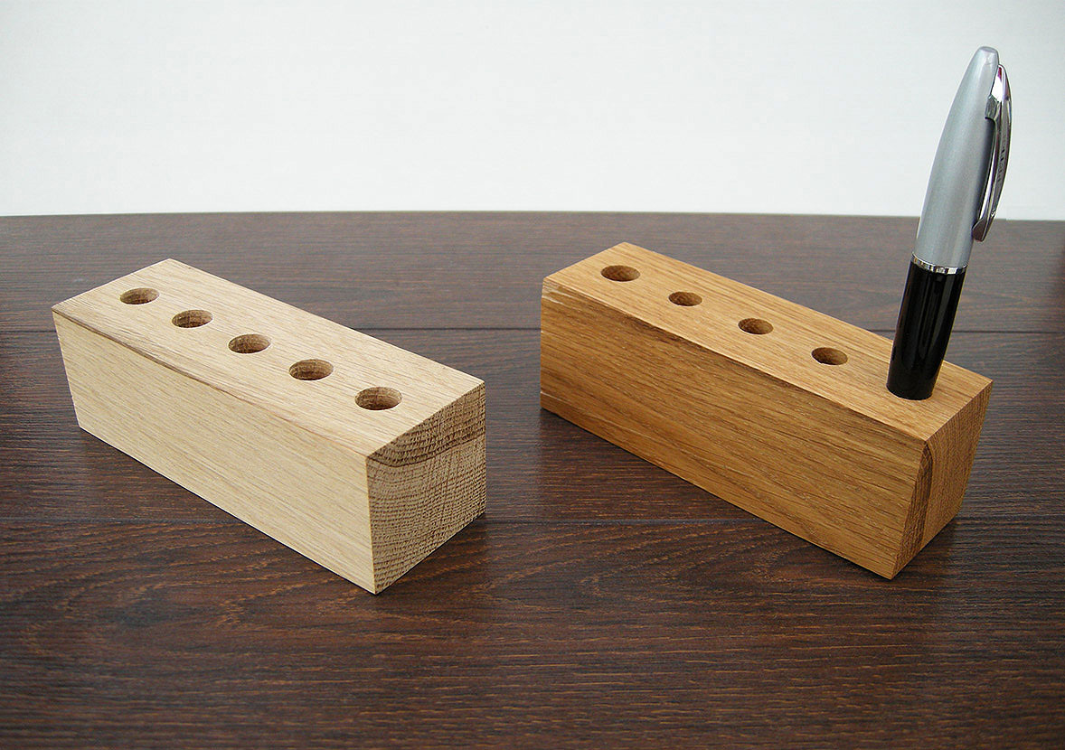 Wood Pen Holder From Oak. Pencil Holder. Wood Desk Organizer
