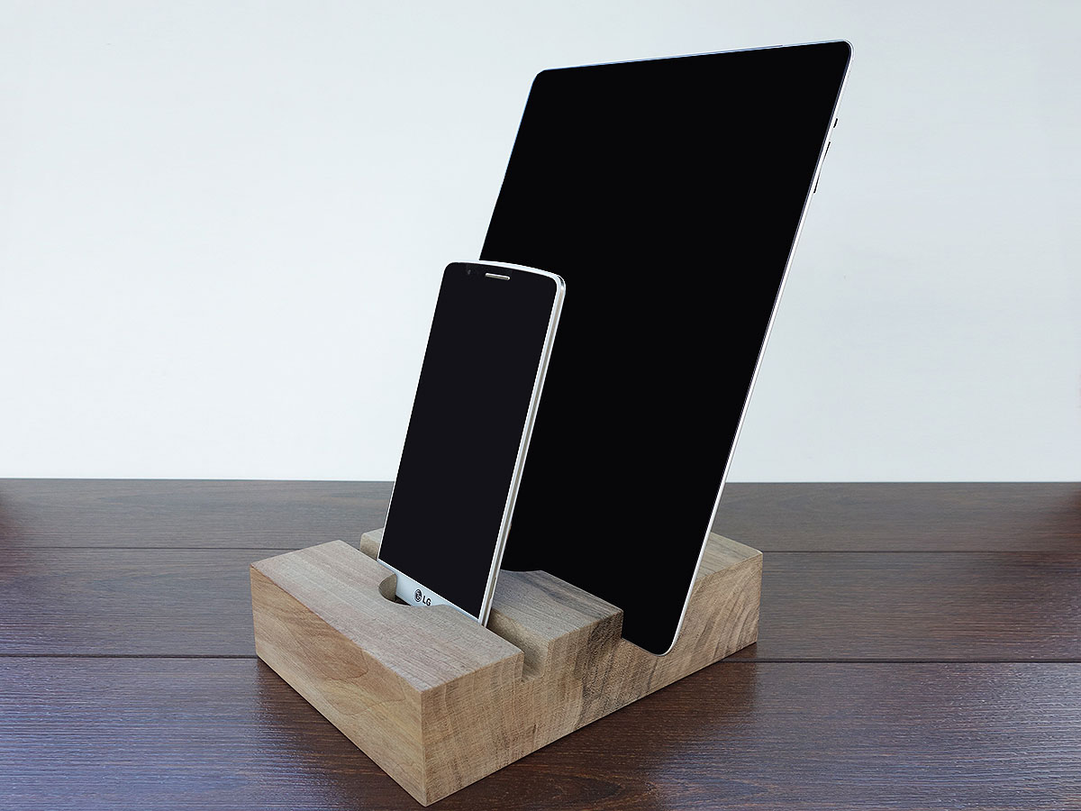 Wood IPhone And IPad Docking Station. 2 Slots Charging Station From Walnut