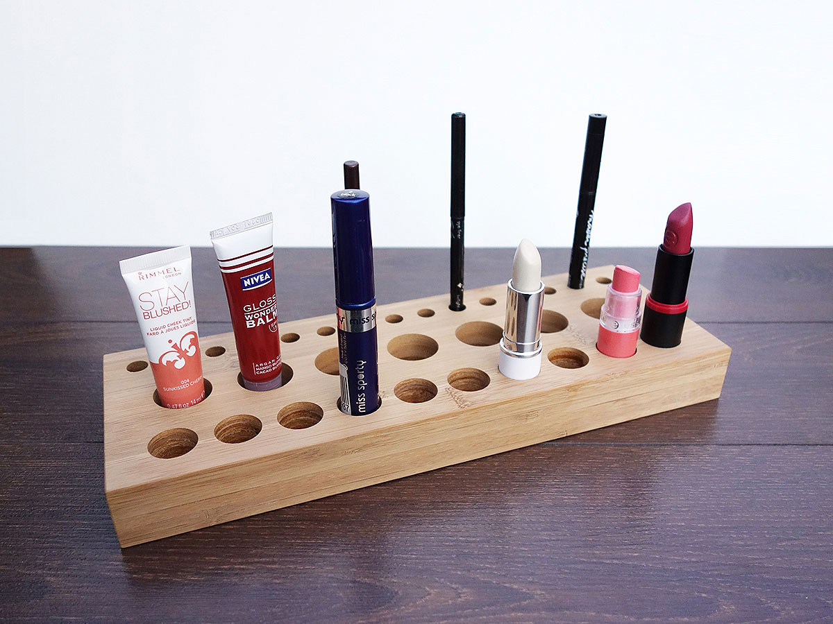 Bamboo Wood Cosmetic Makeup Organizer. Elegant Handmade Wood Make Up Organizer.