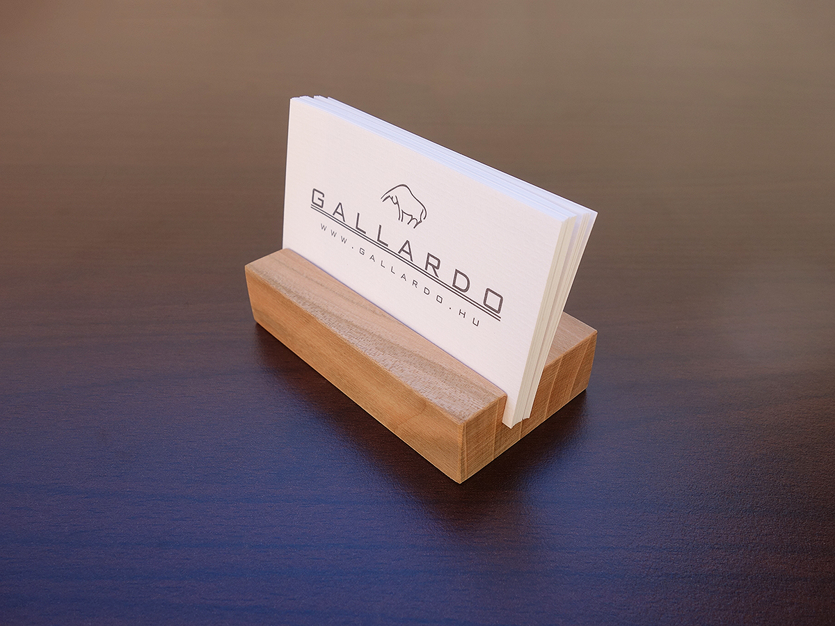 Engraved Cherry Wood Business Card Holder To Dom